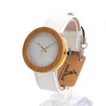 Bamboo & Steel Watches With White Leather Band